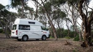 Unser Campervan auf dem Campingplatz am 90 Miles Beach